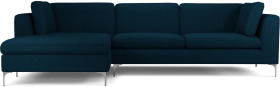 An Image of Monterosso Left Hand Facing Chaise End Sofa, Elite Teal with Chrome Leg