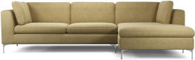 An Image of Monterosso Right Hand Facing Chaise End Sofa, Textured Yellow Mustard with Chrome Leg