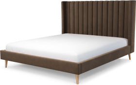 An Image of Cory Super King Size Bed, Mushroom Taupe Cotton Velvet with Oak Legs