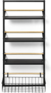 An Image of Tomas 4-Tier Wall-Mounted Kitchen Storage Shelf, Extra Large, Black