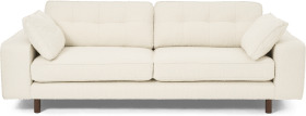 An Image of Content by Terence Conran Tobias 3 Seater Sofa, Ivory White Boucle with Dark Wood Leg