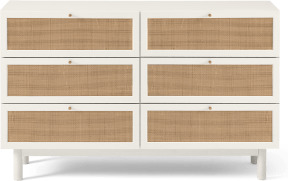 An Image of Pavia Wide Chest of Drawers, Natural Rattan & White Oak Effect