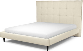 An Image of Lamas Super King Size Bed, Putty Cotton with Black Stained Oak Legs