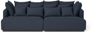 An Image of Laurin 3 Seater Sofa, Prussian Blue Linen
