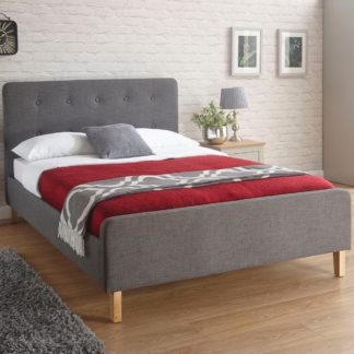 An Image of Ashbourne Fabric Bed Frame Grey