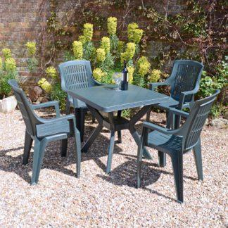 An Image of Trabella 4 Seater Seat Dining Set Green