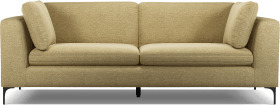 An Image of Monterosso 3 Seater Sofa, Textured Yellow Mustard with Black Leg