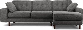 An Image of Content by Terence Conran Tobias, Right Hand facing Chaise End Sofa, Textured Weave Slate, Dark Wood Leg