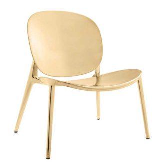 An Image of Kartell Metallic Be Bop Chair Gold