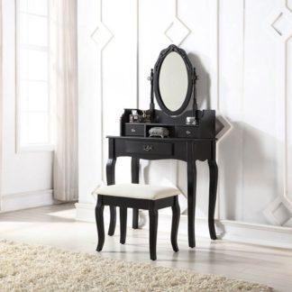 An Image of Lumberton Black Antique Dressing Table Set Black