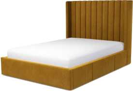 An Image of Cory Double Bed with Drawers, Dijon Yellow Cotton Velvet