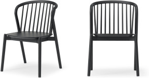 An Image of Tacoma Set of 2 Dining Chairs, Charcoal Black