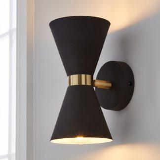 An Image of Archie Retro Head Dual Lit Wall Light Black