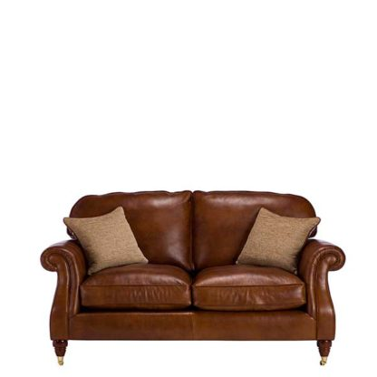 An Image of Parker Knoll Meredith Leather Large 2 Seater Sofa London Saddle - Barker & Stonehouse