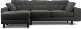 An Image of Content by Terence Conran Tobias, Left Hand facing Chaise End Sofa, Plush Shadow Grey Velvet, Dark Wood Leg