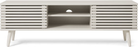 An Image of Tulma Wide TV Stand, White-Washed Oak Effect