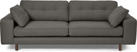 An Image of Content by Terence Conran Tobias 3 Seater Sofa, Charcoal Grey Boucle with Dark Wood Leg