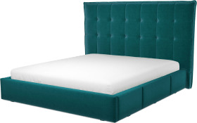 An Image of Lamas Super King Size Bed with Storage Drawers, Tuscan Teal Velvet