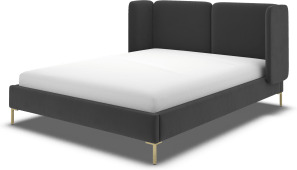An Image of Ricola Double Bed, Ashen Grey Cotton Velvet with Brass Legs