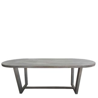 An Image of Kos Outdoor Garden Dining Table In Clay Finish