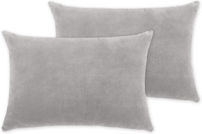 An Image of Lorna Set of 2 Velvet Cushions, 35 x 50cm, Silver