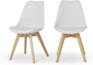 An Image of Deon Set of 2 Dining Chairs, White with Oak Stain Legs