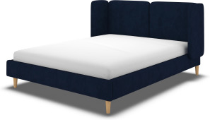 An Image of Ricola Double Bed, Prussian Blue Cotton Velvet with Oak Legs