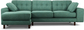 An Image of Content by Terence Conran Tobias, Left Hand facing Chaise End Sofa, Textured Weave Teal, Dark Wood Leg