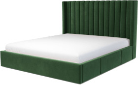 An Image of Cory Super King Size Bed with Storage Drawers, Lichen Green Cotton Velvet