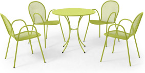 An Image of Emu 4 Seat Round Garden Dining Set, Chartreuse Powder-Coated Steel
