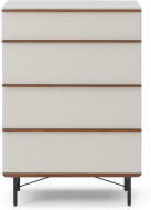 An Image of Vincent Tall Chest of Drawers, Warm Ecru & Walnut Stain