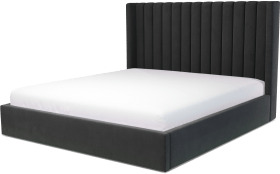 An Image of Cory Super King Size Ottoman Storage Bed, Ashen Grey Cotton Velvet