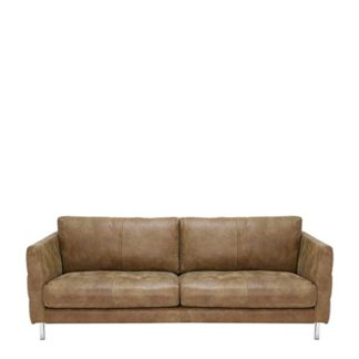 An Image of Lars 3 Seater Leather Sofa - Barker & Stonehouse