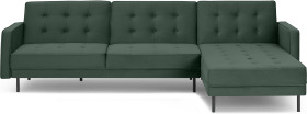 An Image of Rosslyn Right Hand Facing Chaise End Click Clack Sofa Bed, Autumn Green Velvet