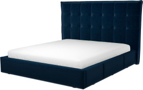 An Image of Lamas Super King Size Bed with Storage Drawers, Regal Blue Velvet