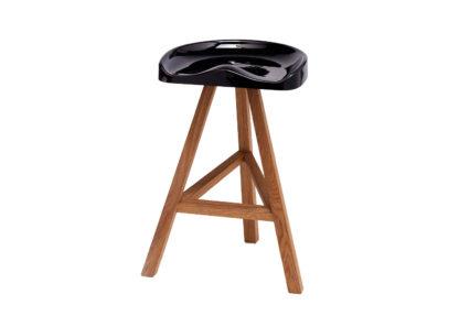 An Image of Established & Sons Heidi Counter Stool Wood Base Gloss Black Seat