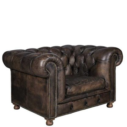 An Image of Timothy Oulton Westminster Feather 1 Seater Sofa Vegabond Black Leath