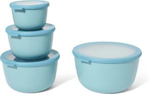 An Image of Mepal Set of 4 Deep Lidded Storage Bowls, Nordic Green