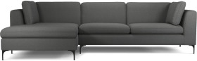 An Image of Monterosso Left Hand Facing Chaise End Sofa, Elite Grey with Black Leg