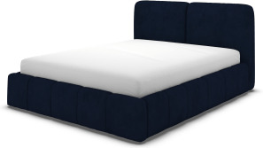 An Image of Maxmo Double Ottoman Storage Bed, Prussian Blue Cotton Velvet