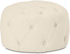 An Image of Hampton Round Pouffe, Small, Whitewash Boucle