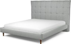 An Image of Lamas Super King Size Bed, Wolf Grey Wool with Walnut Stained Oak Legs