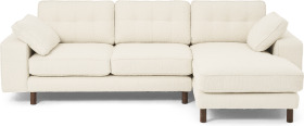 An Image of Content by Terence Conran Tobias Right Hand Facing Chaise End Sofa, Ivory White Boucle with Dark Wood Leg