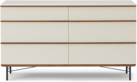 An Image of Vincent Wide Chest of Drawers, Warm Ecru & Walnut Stain
