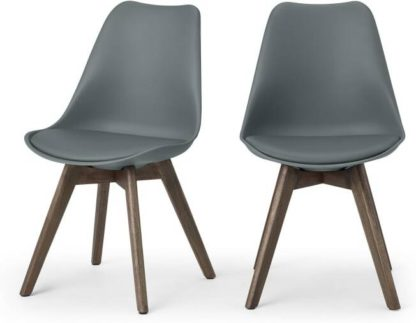 An Image of Deon Set of 2 Dining Chairs, Grey with Dark Stain Legs