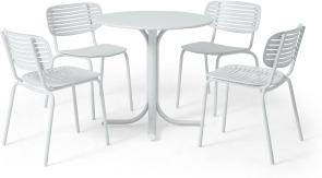 An Image of Emu 4 Seat Garden Dining Set, White Powder-Coated Steel
