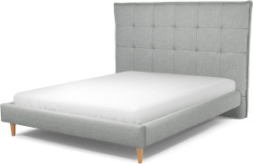 An Image of Lamas King Size Bed, Wolf Grey Wool with Oak Legs