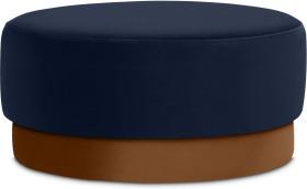 An Image of Volta Pouffe, Large, Interstellar Blue & Cinnamon Velvet