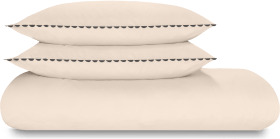 An Image of Kokoda Cotton Trim Duvet Cover + 2 Pillowcases, King, Pastel Rose