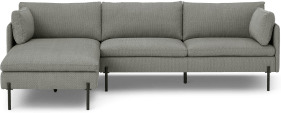 An Image of Zarina Left Hand Facing Chaise End Sofa, Mole Grey Weave